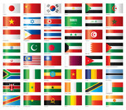 As bandeiras lustrosas ajustaram Ásia & África Fotos de Stock