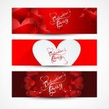 As bandeiras ou os encabeçamentos do dia de Valentim ajustaram-se colorido  Fotografia de Stock Royalty Free