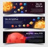 As bandeiras para o sistema solar, astronomia, estragam a missão ilustração do vetor