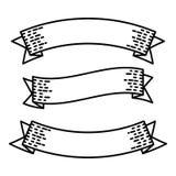 As bandeiras retros da fita ajustaram-se para a ilustração dos elementos do vintage do molde Imagens de Stock Royalty Free