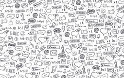 As bandeiras sociais dos meios com tração da mão rabiscam o fundo Ilustração do vetor ilustração stock