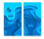 As bandeiras verticais com fundo 3D azul abstrato com papel cortaram formas Vector a disposição de projeto para apresentações do  ilustração royalty free
