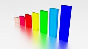As barras crescentes coloridas rendem o vidro Imagem de Stock