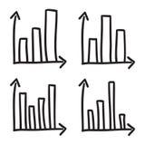 As barras estatísticas do sistema coordenado dos diagramas rabiscam linhas tiradas do preto da ilustração do ícone do vetor dos g Imagem de Stock