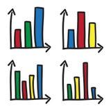 As barras estatísticas do sistema coordenado dos diagramas rabiscam linhas tiradas do preto da ilustração do ícone do vetor dos g Fotos de Stock