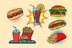 As batatas fritas ajustadas da cola do hamburguer do cachorro quente da coleção do fast food bebem ilustração stock