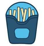 As batatas fritas alinham o ícone isolado vetor personalizado e editável ilustração royalty free
