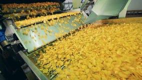 As batatas fritas de batata fritaram em uma fábrica, movendo o transporte sobre automatizado video estoque