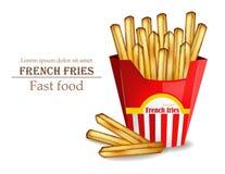 As batatas fritas Vector realístico Molde do fast food Ilustrações 3d detalhadas Imagens de Stock Royalty Free