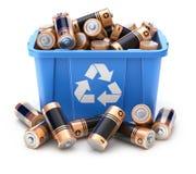 As baterias no azul reciclam a caixa ilustração stock