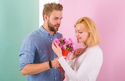 They are as beautiful as you Boyfriend bring bouquet flowers to surprise her. Man giving beautiful flower to lovely. Pretty woman. Every women deserves stock images