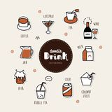 As bebidas entregam os ícones tirados da garatuja ajustados ilustração stock