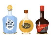As bebidas fortes do álcool no vinho da aguardente do conhaque do uísque dos vidros dos desenhos animados das garrafas vector a i ilustração stock
