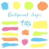 As beiras coloridas da tinta, cursos da escova, manchas, bandeiras, borram, chapinham Fotos de Stock