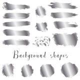 As beiras de prata da tinta, cursos da escova, manchas, bandeiras, borram, chapinham Imagem de Stock Royalty Free