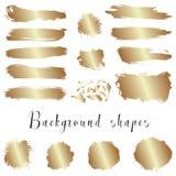 As beiras douradas da tinta, cursos da escova, manchas, bandeiras, borram, chapinham Fotos de Stock Royalty Free