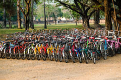As bicicletas alinharam para o aluguel em Sukhothai, Tailândia Fotos de Stock Royalty Free