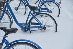 As bicicletas alugam a estação na neve fotografia de stock