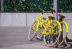 As bicicletas amarelas brilhantes esperam seus proprietários fotos de stock
