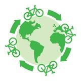 As bicicletas verdes conduzem ao redor do mundo Ilustração Stock