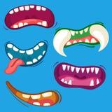 As bocas bonitos do monstro dos desenhos animados ajustaram-se com expressões emocionais diferentes Dentes, língua, coleção da bo Imagem de Stock
