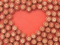 As bolas com bingo numeram com um símbolo do coração Fotografia de Stock