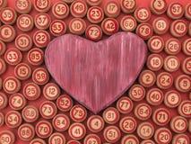 As bolas com bingo numeram com um símbolo do coração Foto de Stock Royalty Free