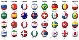 As bolas de futebol embandeiram o wor 2018 final do futebol do competiam dos países ilustração do vetor