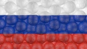 as bolas de futebol 4K estão caindo para baixo em um branco e estão formando uma bandeira de Rússia ilustração stock