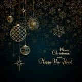 As bolas do ouro do fundo do Natal brincam estrelas que os flocos de neve brilham no Feliz Natal azul de um texto do fundo e no t ilustração stock
