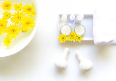 As bolas tailandesas da compressa da massagem dos termas, bola erval e termas do tratamento, relaxam e cuidado saudável com flor, Fotos de Stock