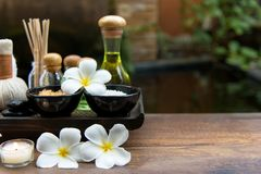 As bolas tailandesas da compressa da massagem dos termas, bola erval e termas do tratamento, relaxam e cuidado saudável com flor, Foto de Stock
