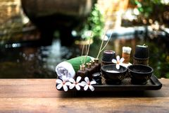 As bolas tailandesas da compressa da massagem dos termas, bola erval e termas do tratamento, relaxam e cuidado saudável com flor, Fotos de Stock Royalty Free