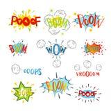 As bolhas cómicas do discurso ajustaram-se Desenhos animados do projeto, uma comunicação gráfica, ilustração ilustração royalty free