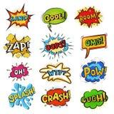 As bolhas cômicas do pop art vector o estilo do popart do discurso dos desenhos animados na expressão do humor ilustração stock