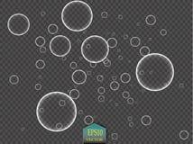 As bolhas da água branca com reflexão ajustaram-se na ilustração transparente do vetor do fundo Fotos de Stock