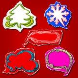 As bolhas e as etiquetas gráficas do discurso do Natal e do ano novo projetam Fotos de Stock Royalty Free