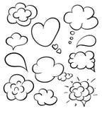 As bolhas tiradas mão do discurso ajustaram-se isolado no branco Bolhas do discurso do esboço ajustadas Coleção do vetor do estil Imagens de Stock