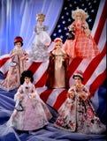 As bonecas do vintage em E.U. embandeiram presidentes fotos de stock