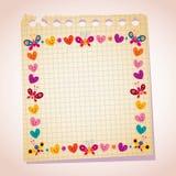 As borboletas bonitos e os corações moldam a ilustração dos desenhos animados do papel de nota Imagens de Stock