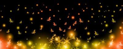 As borboletas brilhantes aumentam acima com flores ilustração stock