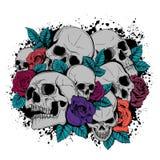 As borboletas do crânio e das flores vector o dia da ilustração dos mortos ilustração royalty free