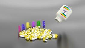 As cápsulas de vitamina espalham-se à superfície filme