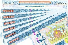 As cédulas da moeda espalharam através do kyat de myanmar do quadro na vária denominação Foto de Stock