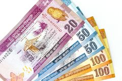 As cédulas da moeda espalharam através da rupia cingalesa do quadro na vária denominação Imagem de Stock