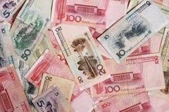 As cédulas de China são um grupo de alternadamente yuan Muito dinheiro fotografia de stock
