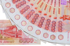 As cédulas de 5000 rublos de russo são encontradas ao redor Fotos de Stock