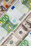 As cédulas do Euro fecham-se acima Várias centenas euro- cédulas Imagem de Stock