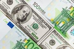 As cédulas do Euro fecham-se acima Várias centenas euro- cédulas Foto de Stock Royalty Free