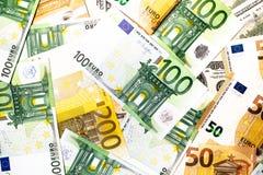 As cédulas do Euro fecham-se acima Várias centenas Imagens de Stock